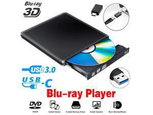 ESTONE Aluminum External Blu-Ray DVD Drive for Laptop, USB 3.0 Portable Optical Slim CD/DVD Burner Blu-Ray Player RW Drive For Desktop PC Windows XP/ 2003/ Vista/ 7/8, Linux, Mac os System, Black