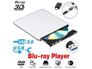 ESTONE Aluminum External Blu-Ray DVD Drive for Laptop, USB 3.0 Portable Optical Slim CD/DVD Burner Blu-Ray Player RW Drive For Desktop PC Windows XP/ 2003/ Vista/ 7/8, Linux, Mac os System, Silver