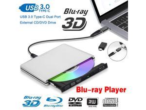 ESTONE Aluminum DVD Drive External Blu-Ray/CD/DVD Player Drive for Laptop Burner USB 3.0 Portable Slim with Type c Connector,for iMac Notebook Laptop Desktop Support Mac os Win 7 Win8 Win10, Silver
