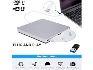 ESTONE Aluminum Portable USB-C/USB3.0 Slim 8X DVD/ Burner +/- Rewriter External Drive, Compatible with both Mac & Windows, (XD055) Silver