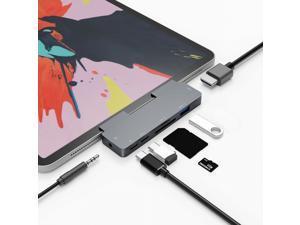 "7-in-1  iPad Pro USB C Hub, for iPad Pro 2016-2021 iPad Air 2018-2020 11""/12.9""  Docking Station with 4K HDMI, USB-C PD Charging, SD/Micro Card Reader, USB 3.0, 3.5mm Headphone Jack,USB C Data"