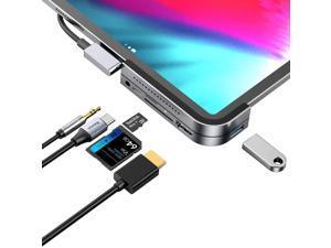 "USB C HUB for iPad Pro 2021 2019 2018,Adapter for iPad Pro 11"", 6 in 1 iPad Pro Hub with 4K HDMI,USB3.0,3.5mm Headphone Jack,USB C PD Charging Port,SD/Micro Card Reader"
