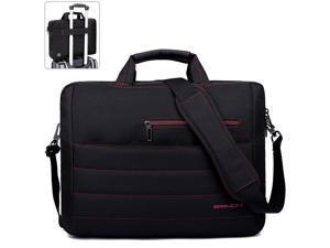 BRINCH 17.3 Inch Nylon Shockproof Carry Laptop Case Messenger Bag For 17 - 17.3 Inch Laptop / Notebook / MacBook / Ultrabook / Chromebook with Shoulder Strap Handles and Various Pockets,Black+Red
