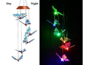 ESTONE LED Solar Colorful Butterfly Wind Chime, Changing Color Waterproof Six Butterfly Wind Chimes For Home Party Night Garden Decoration