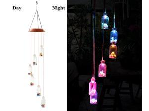 ESTONE LED Solar Lucky bottle Wind Chime, Changing Color Waterproof Six Lucky bottle Wind Chimes For Home Party Night Garden Decoration