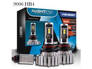 NIGHTEYE 9006/HB4 LED Automobile Headlight Bulbs with Advanced LED Chip and All-in-One Conversion kit-80W/9,000LM/6,000K With 3 Years Warranty