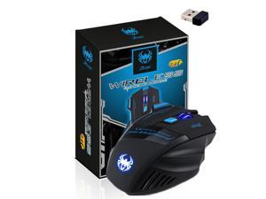ZELOTES LED Optical 2400 DPI 7 Button Adjustable 2.4G Wireless Professional Gaming Mouse Mice- Black