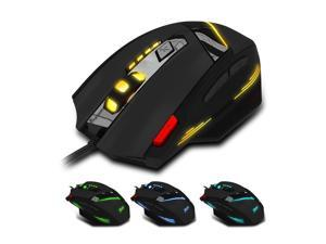 Zelotes Wired Gaming Mouse,800 / 1600 / 2400 / 3200 / 5400 / 7200 DPI,7 Buttons USB LED Mice for Gamer,Computer,Laptop,PC,Mac (Black)
