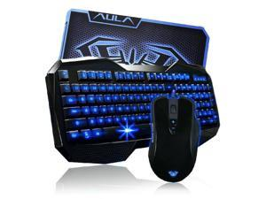 AULA Keyboard mouse Comb,Blue LED Backlight Multimedia USB Gaming Keyboard + 2000 DPI Ergonomic Gaming Mouse + Mouse Pad Set