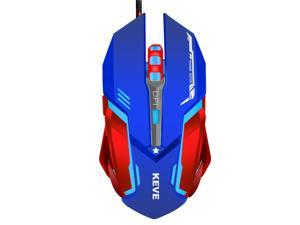 ESTONE Gaming Mouse for PC Games Mouse LED RGB Wired Gaming Mouse 3200 DPI High-Precision Laser Computer Gaming Mouse with 6 Buttons (Blue+Red)