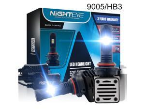 NIGHTEYE 9005 / HB3 LED Headlight Bulbs Conversion Kits 80W ALL-in-One Fanless 12000LM Super Bright CSP LED Chips for Car Light Replacement, 6500K Cool White-3 Years Warranty