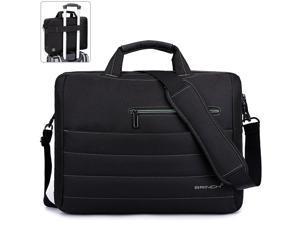 BRINCH Laptop Bag 17.3 Inch, Stylish Fabric Laptop Messenger Shoulder Bag Case Briefcase for 17 - 17.3 Inch Laptop / Notebook / MacBook / Ultrabook / Chromebook Computers (Black+Green)