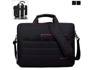 BRINCH Laptop Bag 17.3 Inch, Stylish Fabric Laptop Messenger Shoulder Bag Case Briefcase for 17 - 17.3 Inch Laptop / Notebook / MacBook / Ultrabook / Chromebook Computers (Black+Red)