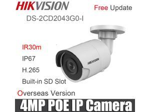 Hikvision Original English Version 4MP HD H.265 PoE Bullet Network Camera Hikvision cctv ip camera DS-2CD2043G0-I with SD Card Slot Face Dectection(2.8mm lens)