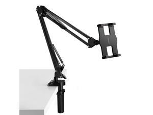 ESTONE Tablet Mount Lazy iPad Holder Universal Long Arm Mobile Phone Bracket, Flexible Gooseneck Clamp Stand for Live Stream, Desk, Bed, Kitchen, Office (Support 4-12.9 Inch Cell Phone and Tables)