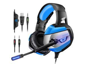 ESTONE PC Gaming Headset, 7.1 Surround Stereo Sound USB Computer Gaming Headset with Microphone,Over-The-Ear Noise Isolating,Breathing LED Light Compatible Mac, Laptop,PC Gamers- (Black+Blue)