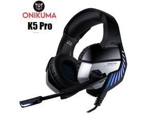 ONIKUMA K5Pro casque PS4 Gaming Headset PC Gamer Bass Headphones with Mic for Mac Nintendo Switch New Xbox One PUBG Games- (Black+Blue)