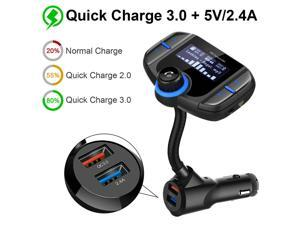 """ESTONE BT70 Bluetooth FM Transmitter 1.7"""" Color Screen Car Bluetooth Adapter with Quick Charge 3.0 + 5V/2.4A Smart IC Dual USB Car Charger, 1.7 Inch LCD Display, TF Card Slot, AUX Input/Output, Black"""