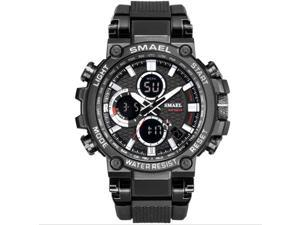 SMAEL Watches Men Sport Watch Man Big Clock Military Watch luxury Army relogio 1803 masculino Alarm LED Digital Watch Waterproof with Analog-Digital Display and EL Backlight- Black/White
