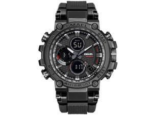 SMAEL Watches Men Sport Watch Man Big Clock Military Watch luxury Army relogio 1803 masculino Alarm LED Digital Watch Waterproof with Analog-Digital Display and EL Backlight- Black/Gray
