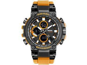 SMAEL Watches Men Sport Watch Man Big Clock Military Watch luxury Army relogio 1803 masculino Alarm LED Digital Watch Waterproof with Analog-Digital Display and EL Backlight-  Black/Orange
