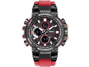 SMAEL Watches Men Sport Watch Man Big Clock Military Watch luxury Army relogio 1803 masculino Alarm LED Digital Watch Waterproof with Analog-Digital Display and EL Backlight- Black/Red