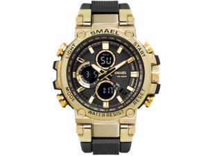 SMAEL Watches Men Sport Watch Man Big Clock Military Watch luxury Army relogio 1803 masculino Alarm LED Digital Watch Waterproof with Analog-Digital Display and EL Backlight- Black/Gold