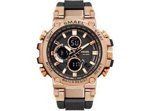 SMAEL Watches Men Sport Watch Man Big Clock Military Watch luxury Army relogio 1803 masculino Alarm LED Digital Watch Waterproof with Analog-Digital Display and EL Backlight- Black/Rose Gold