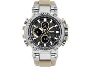 SMAEL Watches Men Sport Watch Man Big Clock Military Watch luxury Army relogio 1803 masculino Alarm LED Digital Watch Waterproof with Analog-Digital Display and EL Backlight- Silver/Khaki