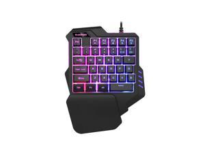 ESTONE One-handed Keyboard Game Artifact Left Hand With 35 Key Colorful  LED Backlight for gaming Desktop for Game LOL/Dota/OW/PUBG/Fortnite