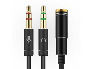 ESTONE  (2 Pack) 3.5mm 4 Pin Female to 2x3.5mm 3 Pin Male Headphone Converter Head Audio Splitter Y Adapter Cable, 0.3M 1FT (Black)