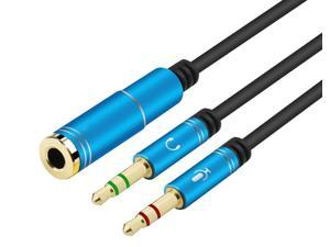 ESTONE  (2 Pack) 3.5mm 4 Pin Female to 2x3.5mm 3 Pin Male Headphone Converter Head Audio Splitter Y Adapter Cable, 0.3M 1FT (Blue)