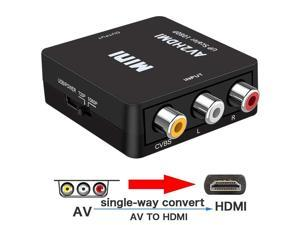 ESTONE RCA to HDMI, 1080P Mini RCA Composite CVBS AV to HDMI Video Audio Converter Adapter with USB Charge Cable for TV/PC/PS3/Blue-Ray DVD,Black