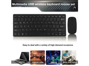 ESTONE 2.4G Wireless Keyboard and Mouse Combo, Keyboard and Mouse Mini Multimedia Keyboard Mouse Combo Set For Notebook Laptop Mac Desktop PC TV Office Supplies-Black
