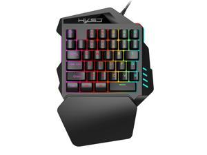 HXSJ V100 35 Keys One-hand Gaming Keyboard Colorful Backlit Game Keyboard 1.6 m USB Cable for PC Macbook Android Windows-System