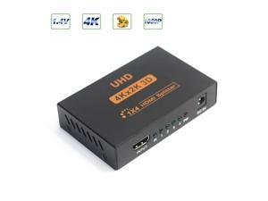 ESTONE Ultra HD 4K HDMI Splitter 1X4 Port 3D UHD 1080p 4K*2K Video HDMI Switch Switcher HDMI 1 Input 4 Output HUB Repeater Amplifier