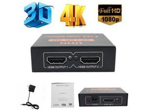 ESTONE 3D 4K*2K HDMI 1080P Splitter 1X2 HDMI Switch Switcher Split 1 in 2 Out Video Amplifier Repeater for HDTV Display DVD PS3