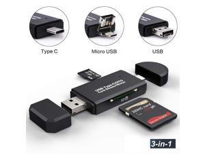 ESTONE SD Card Reader, USB 3.0/Type C/Micro-USB SD/Micro SD Card Reader OTG Adapter for TF, SD, Micro SD, SDXC, SDHC, MMC, RS-MMC, Micro SDXC, Micro SDHC, UHS-I for Mac, Windows, Linux, PC, Laptop