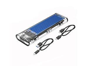 ESTONE Transparent NVMe M.2 Enclosure Tool-Free USB3.1 Type-C Gen2 10Gbps to M.2 SSD Enclosure for Intel 660p/Samsung 970 EVO/Samsung970 Pro 2230/2242/2260/2280 PCIe NVMe M-Key SSD up to 2TB-Blue