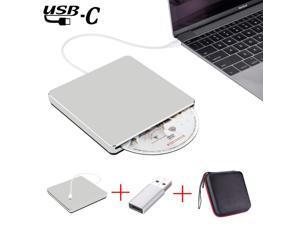 ESTONE External CD Drive with Case, Type C USB 3.0 Portable CD DVD +/-RW Drive Slim DVD/CD ROM Rewriter Burner Writer Compatible with Laptop Desktop PC Windows Linux OS Apple Mac(Silver)