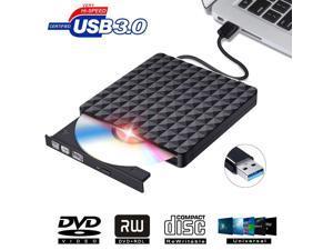 ESTONE Diamond Pattern External DVD Drive USB 3.0, Ultra-Slim CD DVD +/-RW Drive, DVD/CD ROM Rewriter Burner Writer for MacBook, Laptop, Notebook, PC Computer  -Black