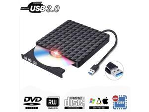 ESTONE Diamond Pattern USB 3.0 External DVD Drive, Slim Portable CD DVD +/-RW Writer/Rewriter/Player DVD CD ROM Drive for Mac OS/Desktop/Vista/Linux/Laptop/Windows 10/8/7/XP (Black)