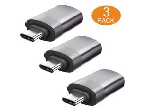 ESTONE USB C to USB 3.0 Adapter 3-Pack, Type C to USB A 3.0 Aluminum Adaptor with Data Transfer Up to 5Gbps, Thunderbolt 3 to USB 3.1 Female OTG Compatible with MacBook, iPad Pro 2018, Samsung, Gray