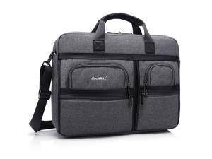 ESTONE Laptop Briefcase 17.3 Inch Business Office Bag Laptop Bag for Men Women, Waterproof Stylish Nylon Multi-functional Laptop Shoulder Messenger Bag Computer Bag fit for Noteb0ok Macbook HP, Gray