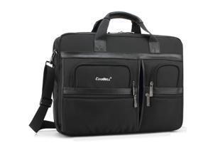 ESTONE Laptop Briefcase 17.3 Inch Business Office Bag Laptop Bag for Men Women, Waterproof Stylish Nylon Multi-functional Laptop Shoulder Messenger Bag Computer Bag fit for Noteb0ok Macbook HP, Black