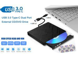 ESTONE External CD Drive, USB 3.0 Type-C Portable CD/DVD +/-RW Drive High Speed Data Transfer Slim DVD/CD ROM Rewriter Burner Compatible with Laptop Desktop PC Windows Linux Mac OS (Black)