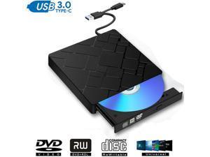 ESTONE External CD DVD Drive,USB 3.0 Type-C Slim Portable CD/DVD Writer/Rewriter/Burner,High Speed Data Transfer USB Optical Drives Player Compatible with Laptop Desktop PC Windows Linux Mac OS, Black