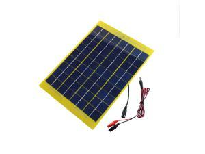 10W 18V 550mAh Solar Panel Charger For 12V Battery with DC Output Crocodile Clip