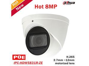 Dahua IPC-HDW5831R-ZE 4K 8MP WDR IR Eyeball Network Camera POE 2.7 ~12mm LensMultiple network monitoring: Web viewer, CMS(DSS/PSS) & DMSS    Built-in Mic  Max. IR LEDs Le