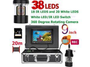 9 Inch DVR Recorder 20m Underwater Fishing Video Camera Fish Finder IP68 Waterproof 38 LEDs 360 Degree Rotating Camera